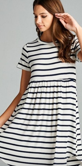 Dresses & Skirts - Women's buttery soft white and black striped dress